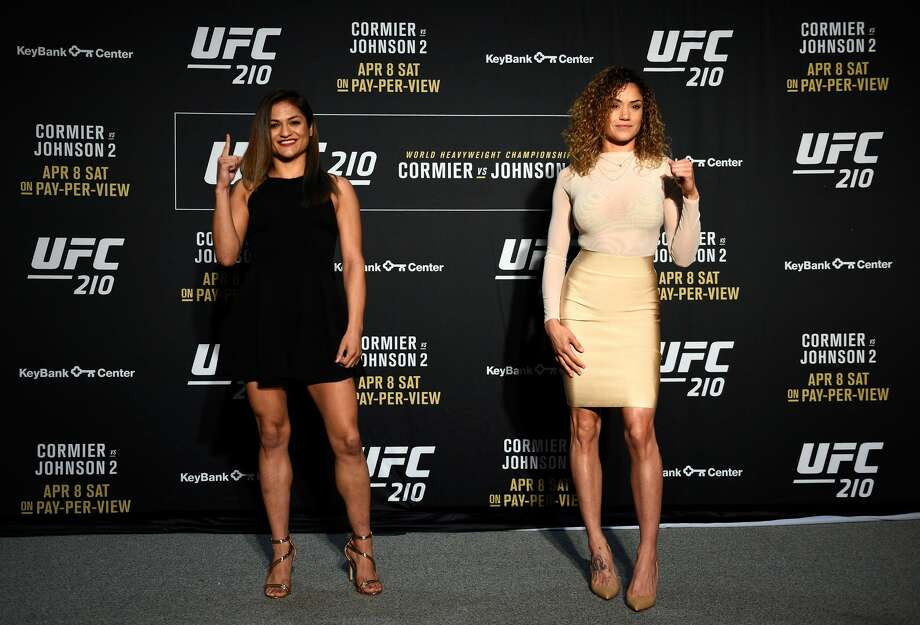 BUFFALO, NEW YORK - APRIL 05:  (L-R) Cynthia Calvillo and Pearl Gonzalez (right) face off during the UFC 210 Ultimate Media Day inside the KeyBank Center on April 5, 2017 in Buffalo, New York. (Photo by Jeff Bottari/Zuffa LLC/Zuffa LLC via Getty Images) Photo: Jeff Bottari/Zuffa LLC/Zuffa LLC Via Getty Images