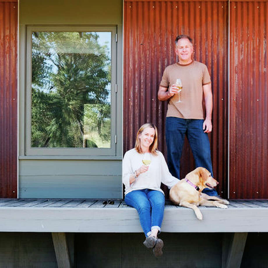 """Take the living outsideGrant Kirkpatrick, who's an architect, designed a low-slung, 1,000-square-foot prefab dwelling inspired by Cliff May's iconic ranch houses. The imminent plan is for Split Rock to surpass its humble beginnings with a full array of solar panels, taking the homestead—which already has its own groundwater supply and septic system—completely off the grid. """"We feel a real sense of accomplishment here,"""" says Grant. """"But we realize that much of that came from the ability to appreciate the serenity."""" Photo: Thomas J Story/Sunset Publishing"""