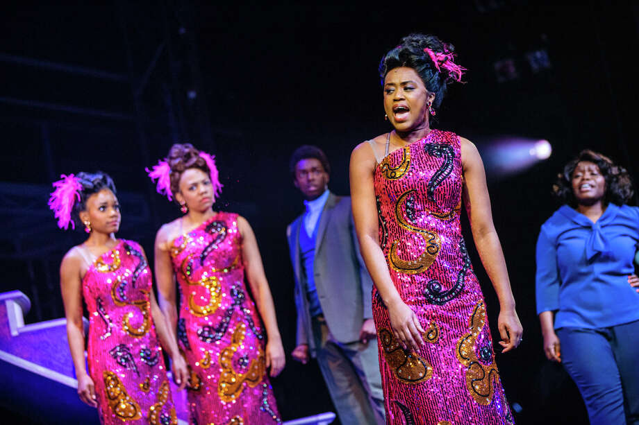 "Ta'Nika Gibson as Lorrell Robinson, Phoenix Best as Deena Jones, Wonza Johnson as C.C. White, Kerissa Arrington as Michelle Morris and Zonya Love as Effie White in the current production of ""Dreamgirls"" presented by TUTS at The Hobby Center. The show continues through April 16."