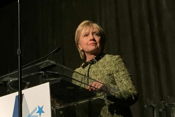 Hillary Clinton speaks Friday, April 7, 2017 at a Houston luncheon for Annie's List, a Texas group helping to elect Democratic women.