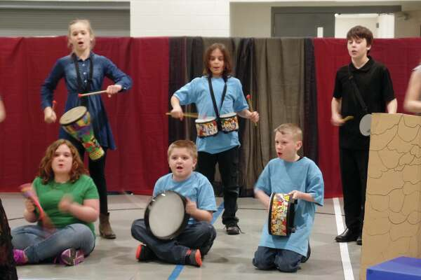 """The third through fifth grade students at Cross Lutheran School perform """"Boom Chick.""""         (Submitted photo)"""