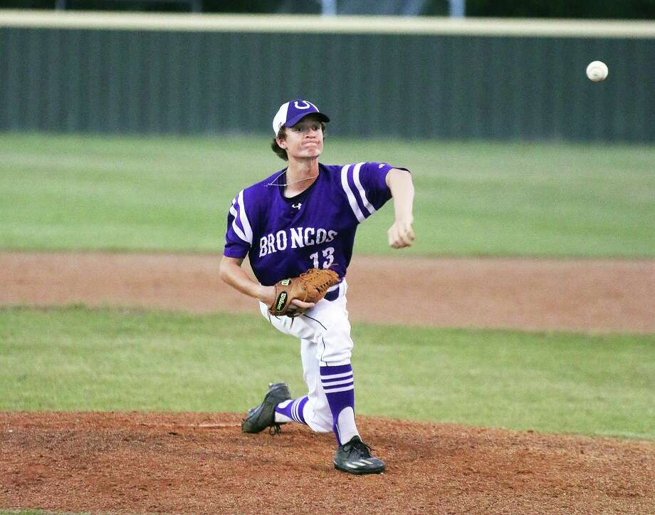 Bronco pitcher Nolan Cox was roughed up early in the district loss to Kingwood Park, but settled down to pitch a solid game before being relieved in the seventh inning. Photo: David Taylor