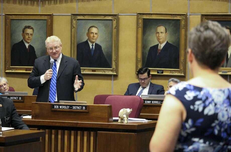 Arizona state Sen. Bob Worsley, a Republican, answers a question on a voucher expansion bill Thursday from state Sen. Katie Hobbs, a Democrat. Photo: Bob Christie, Associated Press
