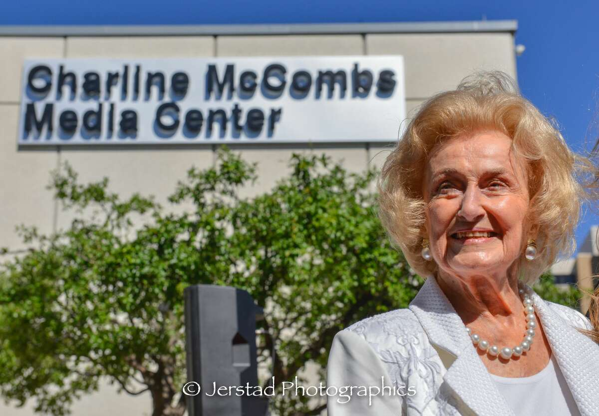 Celebration time: KLRN-TV receives hefty gift, and Charline McCombs is surprised by a building with her name on it.