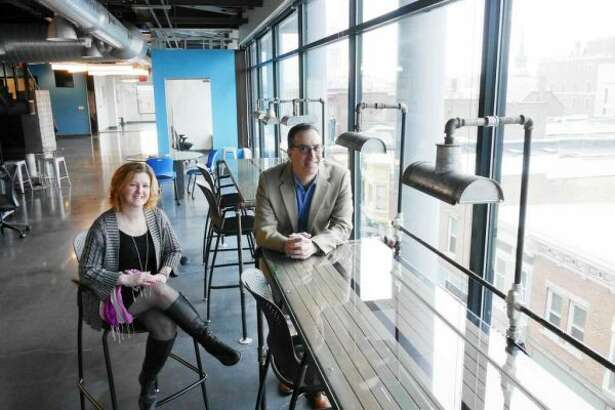 Susan Bardack, left, and Jeff Goronkin, right, are now running the Electric City Innovation Center. Join them for an open house April 27. (Paul Buckowski/Times Union)