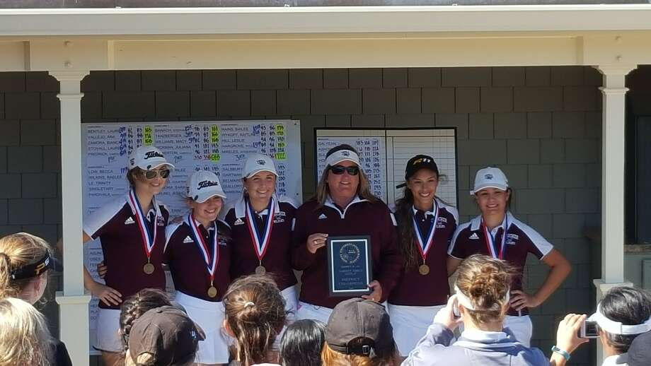 The Clear Creek girls' golf team won the District 24-6A golf championship Thursday at Galveston Country Club. Team members (left to right) are Lauren Stovall, Caroline Frederick, Lauren Bentley, head coach Kayla Williamson, Ana Vallejo and Bianca Zamora.