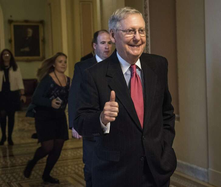 "Senate Majority Leader Mitch McConnell, R-Ky., departs the Senate chamber after a historic vote on the ""nuclear option"" to confirm Judge Neal Gorsuch to the Supreme Court, on Thursday. MUST CREDIT: Photo by The Washington Post by Bill O'Leary"