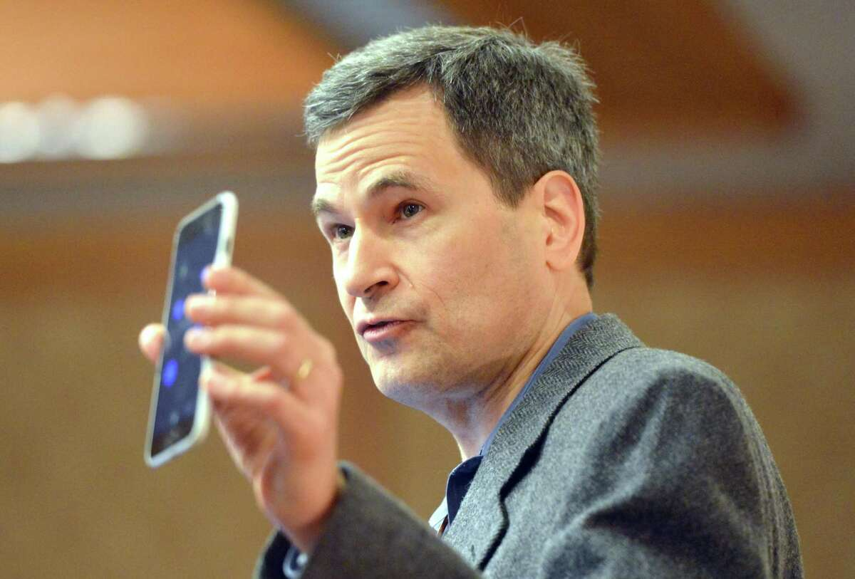 Keynote speaker David Pogue, Technology Critic at Yahoo Finance, talks during The Greater Norwalk Chamber of Commerce 128th Annual Dinner at Dolce Norwalk on Thursday April 6, 2017 in Norwalk Conn.