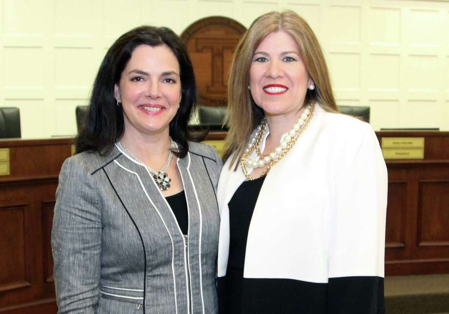 Tomball ISD Board President Kathy Handler, left, congratulated Martha Salazar-Zamora as she was hired as the district's next superintendent of schools.Salazar-Zamora joined Tomball nearly three years ago as the chief academic officer. She has worked in education for 30 years. She joined Tomball from Round Rock ISD, where she served as the deputy superintendent of curriculum and administration. Photo: TISD