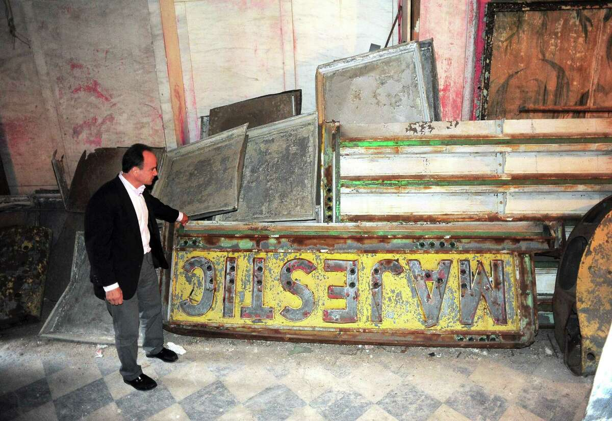 Bridgeport Mayor Joe Ganim along with some city officials and supportrs took a tour of the old Majestic and Poli-Palace Theaters on Main Street in Bridgeport, Conn. on Thursday September 30, 2015. Ganim announced his intentions to renovate the theater complex if elected mayor again.