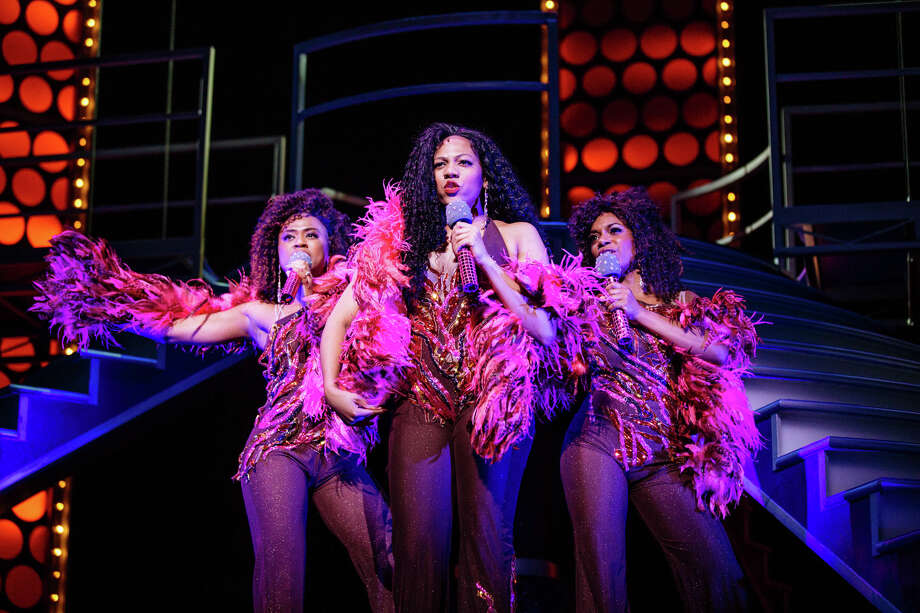 "Kerissa Arrington as Michelle Morris, Phoenix Best as Deena Jones and Ta'Nika Gibson as Lorrell Robinson in ""Dreamgirls"" Photo: Os Galindo"