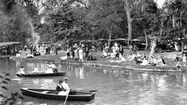 Boaters at Brackenridge Park in the 1920s or 1930s.
