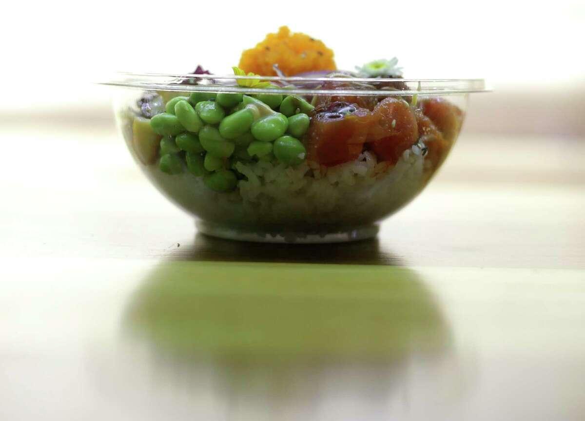 A spicy tuna poke bowl ( Elizabeth Conley / Houston Chronicle )