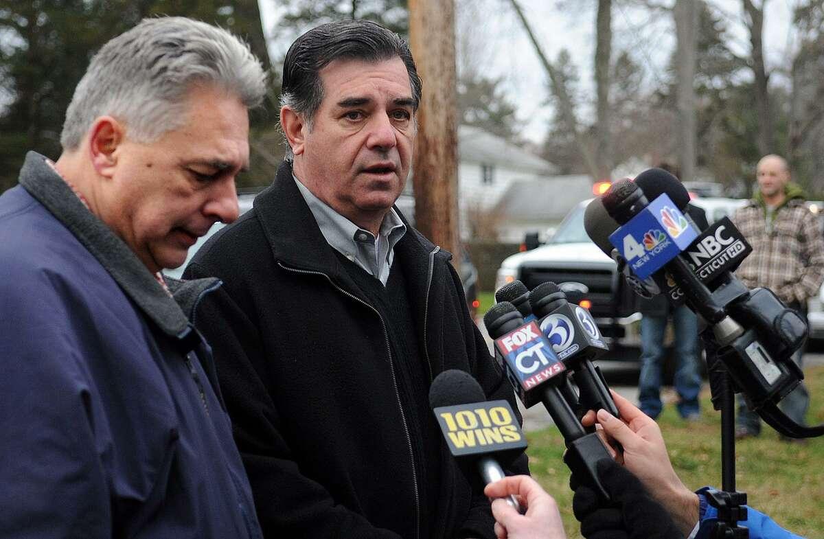 Former Mayor Michael Pavia, right and ex-Stamford Fire Chief Antonio Conte