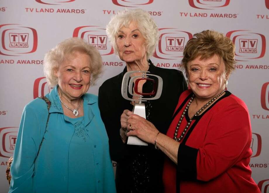 "SANTA MONICA, CA - JUNE 08:  (L-R) ""The Golden Girls"" actresses Betty White, Beatrice Arthur and Rue McClanahan, winners of the ""Pop Culture"" award, pose for a portrait during the 6th annual ""TV Land Awards"" held at Barker Hangar on June 8, 2008 in Santa Monica, California.  (Photo by Todd Williamson/Getty Images for TV Land) Photo: Todd Williamson, Getty Images For TV Land / 2008 Getty Images"