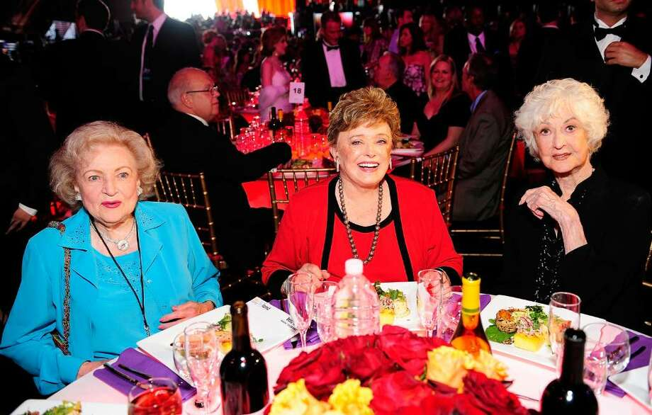 "SANTA MONICA, CA - JUNE 08:  (L-R) Actresses Betty White, Rue McClanahan, and Bea Arthur pose in the audience during the 6th annual ""TV Land Awards"" held at Barker Hangar on June 8, 2008 in Santa Monica, California.  (Photo by Charley Gallay/Getty Images for TV Land) Photo: Charley Gallay, Getty Images For TV Land / 2008 Getty Images"