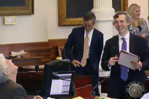 Sen. Van Taylor, R-Plano, cracks up talking about his Senate Bill 1620, to allow raising six or fewer backyard chickens, Wednesday, April 5, 2017. (Screen grab from Texas Senate video)