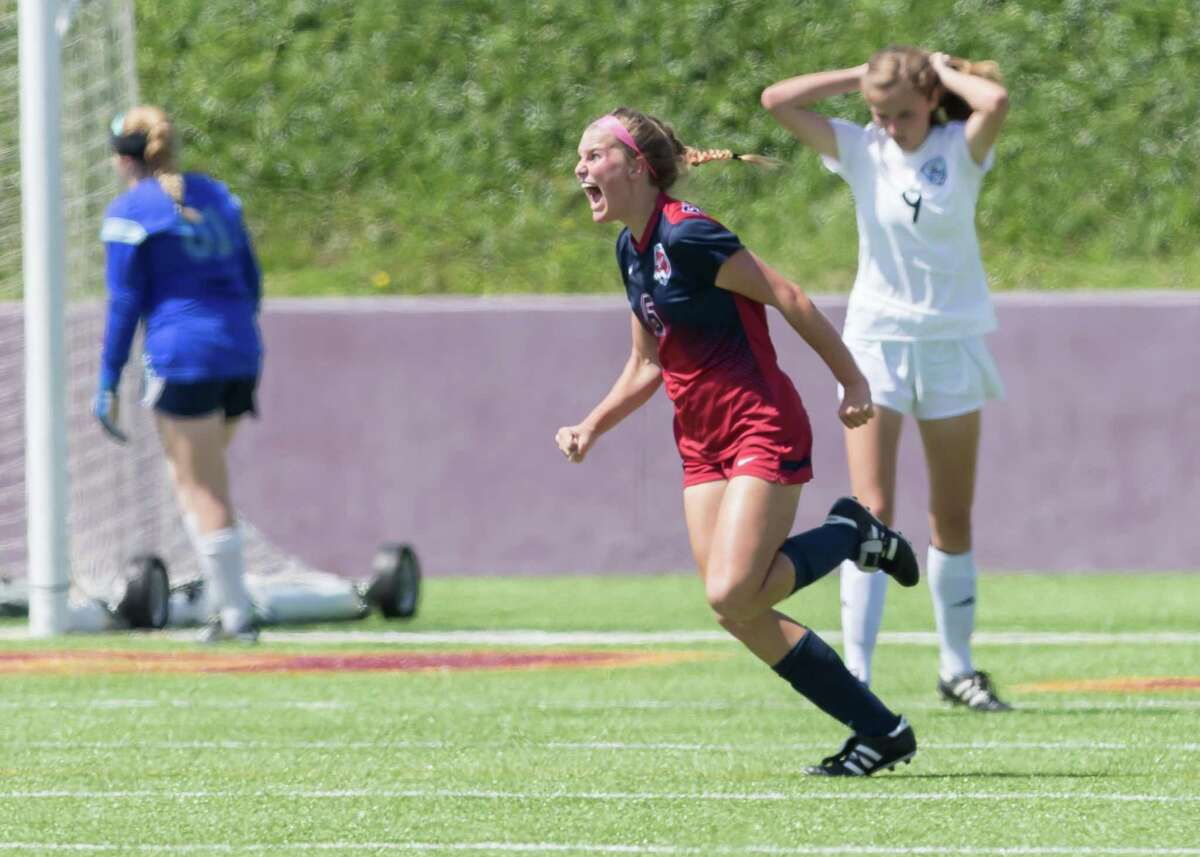 April 7, 2017: Tompkins midfielder Leanne Veary celebrates after scoring a goal in the first half of the Region III Session I girls soccer match, Tompkins vs Kingwood on April 7, 2017 at Abshier Stadium in Deer Park, Texas. (Leslie Plaza Johnson/Freelance)