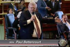 Sen. Paul Bettencourt, Harris County, channeling Foghorn Leghorn during a discussion of Senate Bill 1620, to allow the raising of six or fewer backyard chickens, April 5, 2017, in the Texas Legislature. (Screen grab from Texas Senate video)