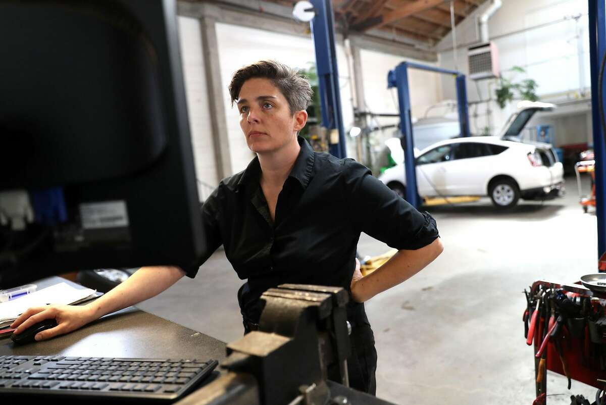 Luscious Garage's Carolyn Coquillette has created a software program for other indie garages to manage their customer's maintenance schedules. Photographed in San Francisco, Calif., on Friday, April 7, 2017.