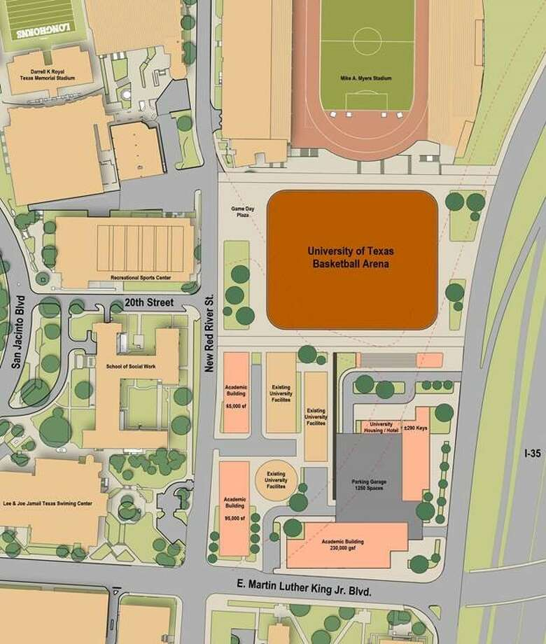 Proposed site for Texas' new basketball arena, which well replace the Frank Erwin Center. Photo: Courtesy Of University Of Texas