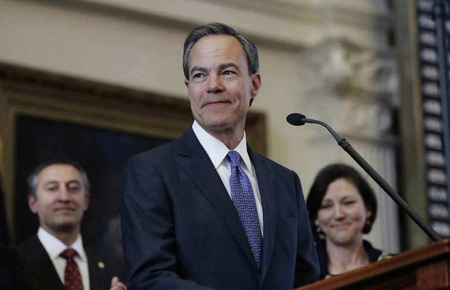 Texas Speaker of the House Joe Straus, R-San Antonio, stands before the opening of the 85th Texas Legislative session in the house chambers in January. The House budget proposes modestly dipping into the Rainy Day Fund, while the Senate plan does not. The House is on the right track. Photo: Eric Gay /Associated Press / Copyright 2017 The Associated Press. All rights reserved.