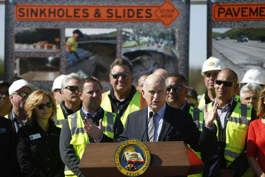 Gov. Jerry Brown pushed the transportation bill through the Legislature days after announcing it in Concord on March 30. Photo: Lea Suzuki, The Chronicle