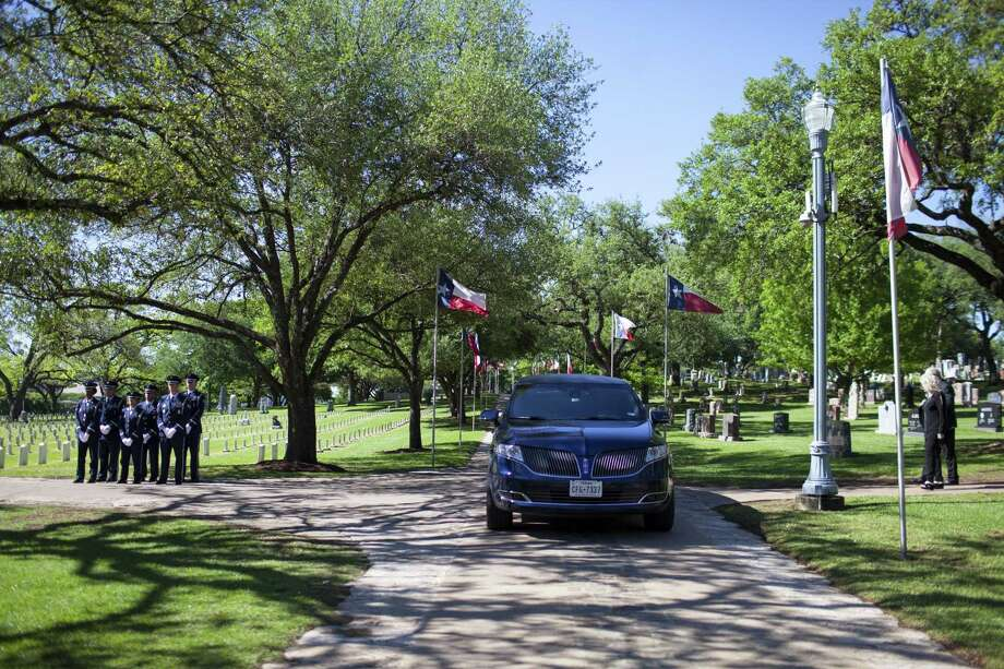 Capt. Robert Russell Barnett, KIA in Vietnam, received full military honors during his funeral at the Texas State Cemetery in Austin, TX on Friday, April 7, 2017.   Barnett, from San Antonio, served during the Vietnam War in the Air Force from 1956 until his plane was shot down by Laotian and North Vietnamese fighters on April 7, 1966. At that time, his remains were not recovered and he was declared Killed in Action. In 2014 and 2015 The National League of POW/MIA Families assisted with excavations of the crash site. Scientists from the U.S. Defense POW/MIA Accounting Agency used dental records to positively identify his body. (Photo by Katie Hayes Luke) Photo: Katie Hayes Luke