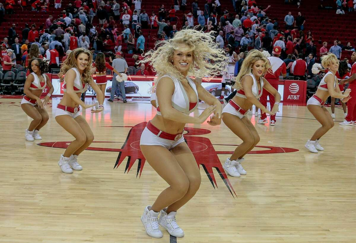 PHOTOS: Best photos of the Rockets Power Dancers and cheerleaders in the 2016-17 season. HOUSTON, TX - DECEMBER 12: Houston Rockets Power Dancers perform during the Brooklyn Nets and Houston Rockets game at Toyota Center on December 12, 2016 in Houston, Texas. NOTE TO USER: User expressly acknowledges and agrees that, by downloading and or using this photograph, User is consenting to the terms and conditions of the Getty Images License Agreement. (Photo by Bob Levey/Getty Images)
