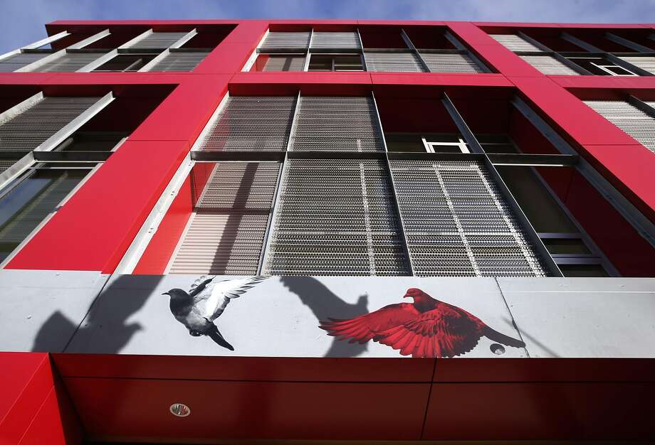 Pigeon graphics adorn the front of the L Seven apartment complex at Eighth and Harrison streets in San Francisco. Photo: Paul Chinn, The Chronicle