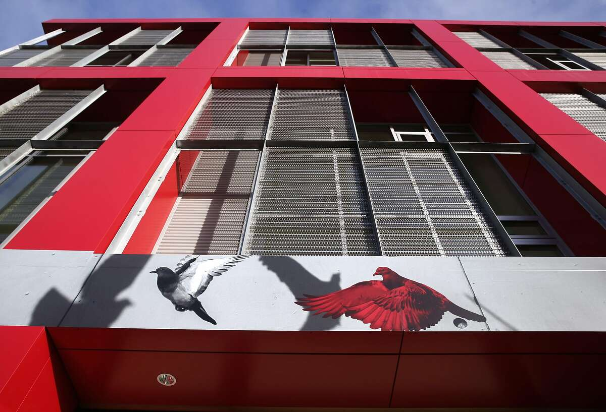 Pigeon graphics are used to promote the LSeven apartment complex at Eighth and Harrison streets in San Francisco, Calif. on Tuesday, April 4, 2017.