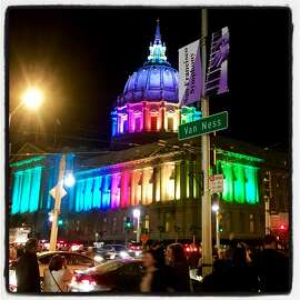 City Hall illuminated in rainbow hues for the @SfymphonyPride concert. April 4, 2017.