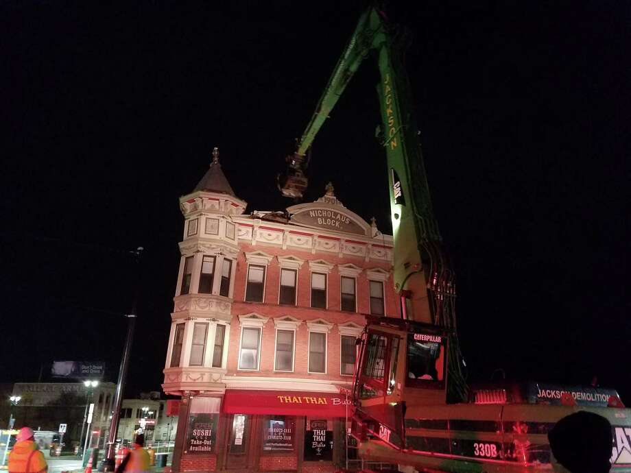 Nicholaus building demolition starts late Friday night in Schenectady. (Chris Churchill / Times Union)