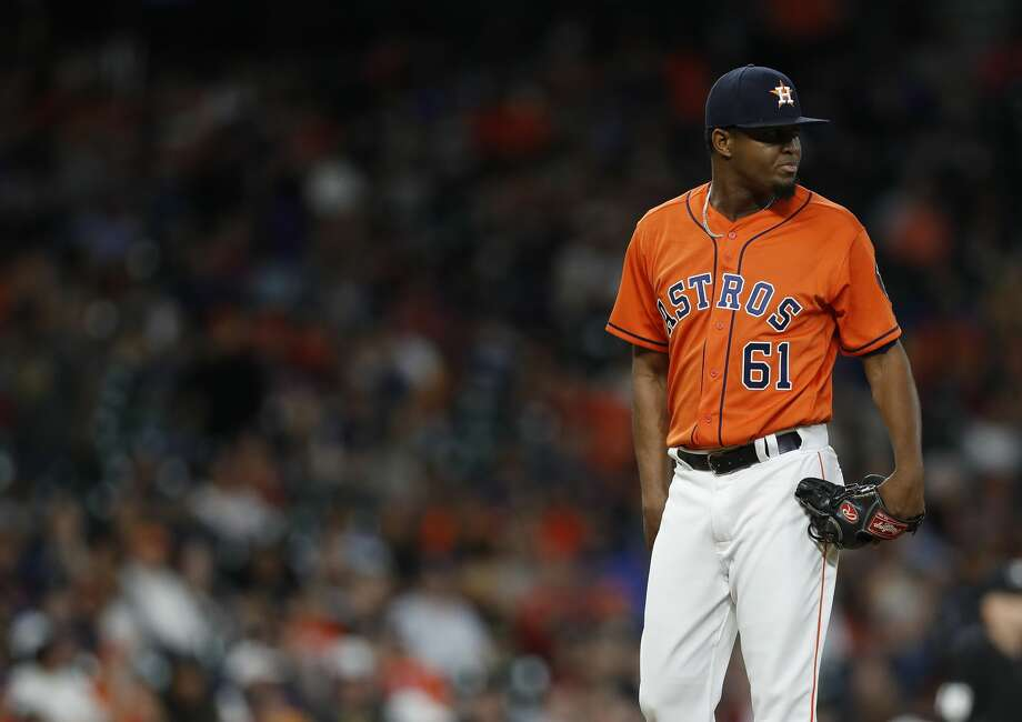 Houston Astros relief pitcher Jandel Gustave (61) between pitches in the eighth inning of an MLB baseball game at Minute Maid Park, Friday, April 7, 2017, in Houston.   ( Karen Warren / Houston Chronicle ) Photo: Karen Warren/Houston Chronicle