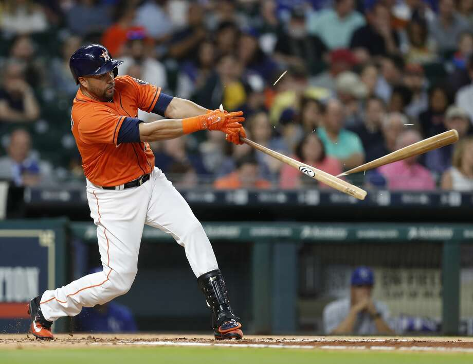 Houston Astros right fielder Carlos Beltran (15) shatters his bat on his single in the second inning of an MLB baseball game at Minute Maid Park, Friday, April 7, 2017, in Houston.   ( Karen Warren / Houston Chronicle ) Photo: Karen Warren/Houston Chronicle