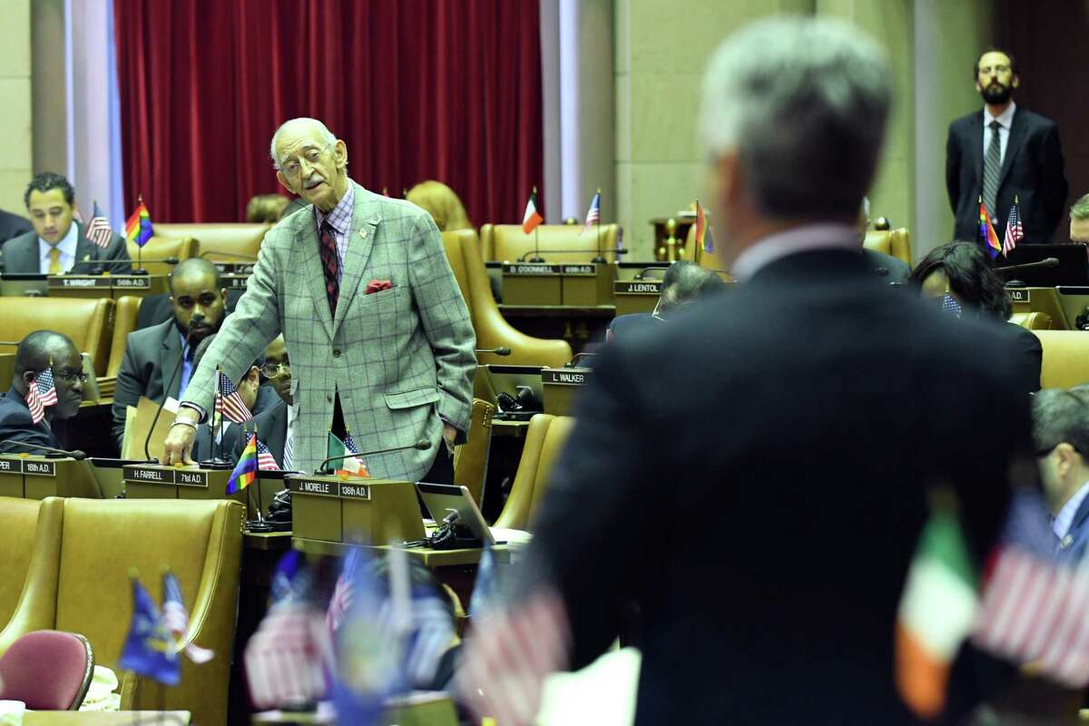 Assemblyman Steve McLaughlin (R,C,I-Troy), right, questions Assembly Ways and Means Committee Chair, Assemblyman Herman Farrell Jr., left, on the state budget during session on Friday, April 7, 2017, at the Capitol in Albany, N.Y. (Will Waldron/Times Union)