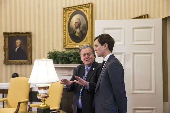 FILE -- Steve Bannon, left, and Jared Kushner in the White House, Feb. 3, 2017. Tensions  between Bannon, President Donald Trump�s chief strategist, and Kushner, his son-in-law, have grown in recent weeks, fueled by personality, ideology and ambition as Kushner�s portfolio of responsibilities has expanded while Bannon�s has shrunk with the loss of a national security post. (Al Drago/The New York Times)