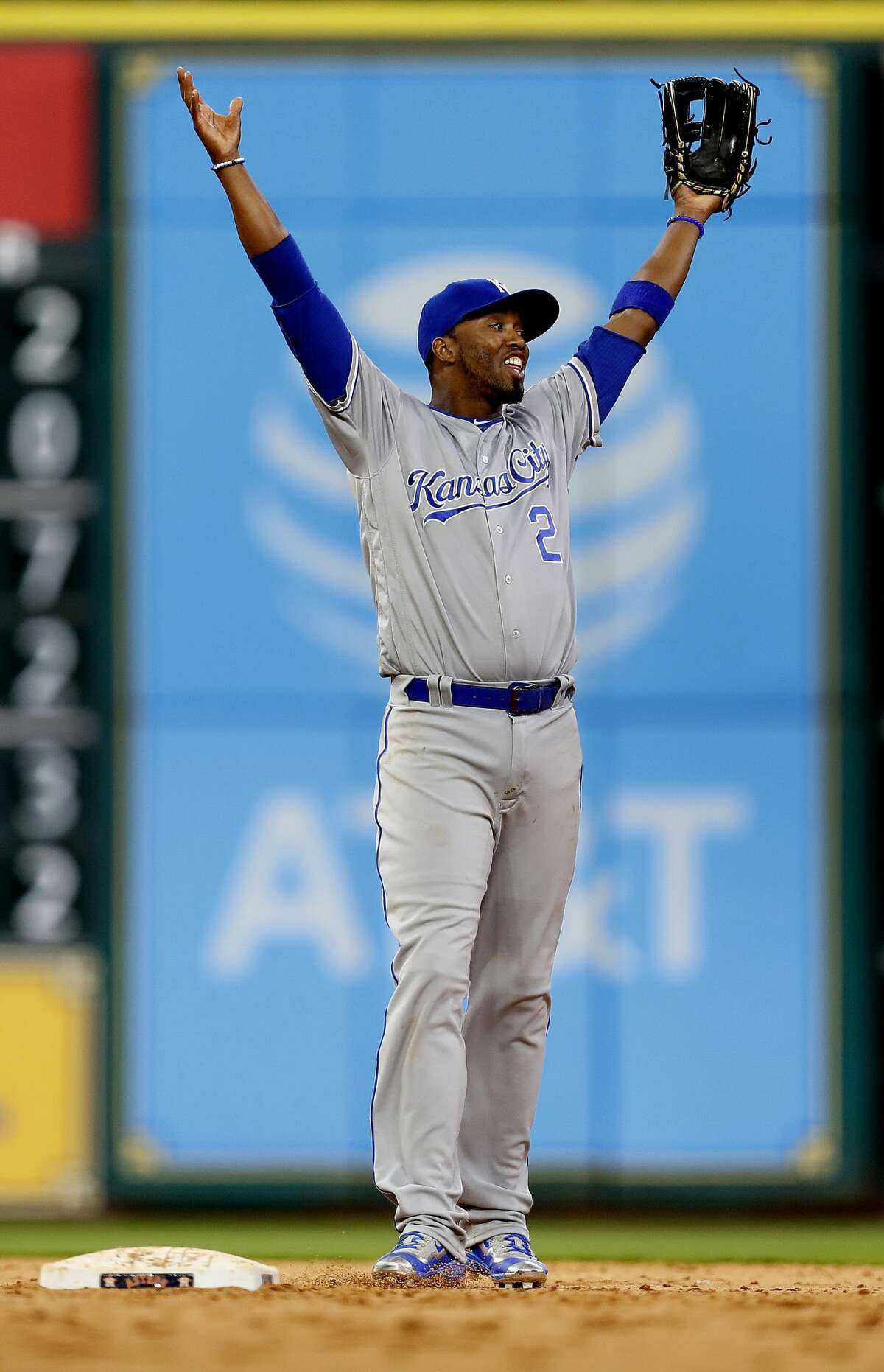 Kansas City Royals shortstop Alcides Escobar (2) reacts after the Royals beat the Astros 5-1 after an MLB baseball game at Minute Maid Park, Friday, April 7, 2017, in Houston. ( Karen Warren / Houston Chronicle )