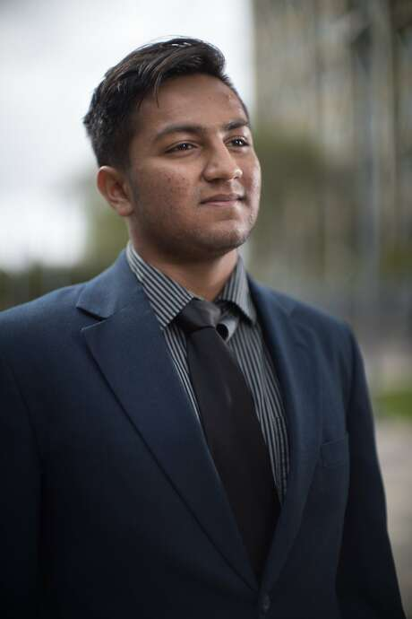Pranav Jandhyala, 19, co-founded BridgeCal, a group seeking to bridge the political/ideological divide on campus near student housing on Friday, April 7, 2017 in Berkeley, Calif. Photo: Paul Kuroda, Special To The Chronicle