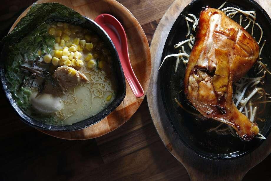 Chicken paitan DX (chicken ramen with rich white Paitan broth, chicken chashu, soft-boiled egg, corn, green onions, kikurage mushroom and bean sprouts), and chicken leg on the side at Marufuku Ramen in Japantown. Photo: Lea Suzuki, The Chronicle