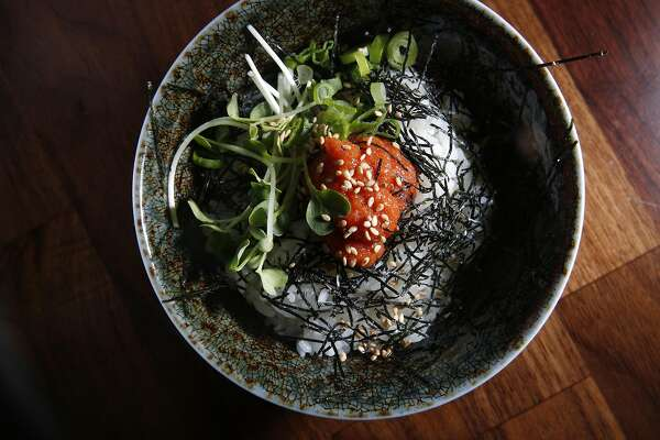 The Mentaiko Bowl, spicy seasoned cod roe over rice, at Marufuku Ramen is seen on Friday, April 8, 2017 in San Francisco, Calif.