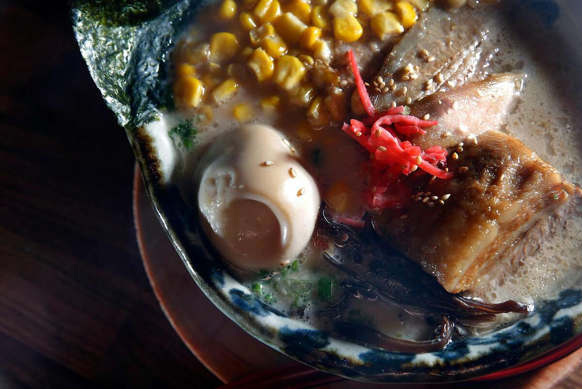 The Hakata Tonkotsu, hakata style ramen with rich pork broth, braised pork belly, soft boiled egg, corn, green onions, kikurage mushroom and bean sprouts, at Marufuku Ramen is seen on Friday, April 8, 2017 in San Francisco, Calif.
