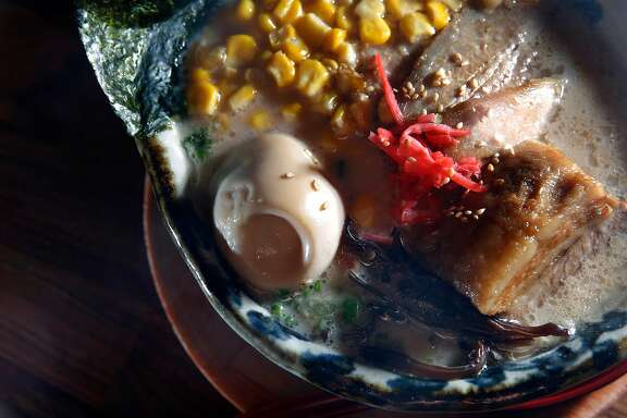 The Hakata Tonkotsu, hakata style ramen with rich pork broth, braised pork belly, soft boiled egg, corn, green onions, kikurage mushroom and bean sprouts, at Marufuku Ramen is seen on Friday, April 8, 2017 in San Francisco, Calif.