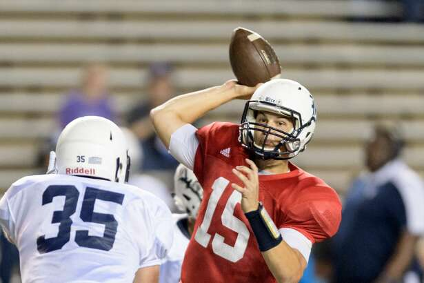 J.T. Granato (15) of the Rice Owls attempts a pass in the second half of the Rice Owls Spring Football game on Friday, April 7, 2017 at Rice Stadium in Houston Texas.