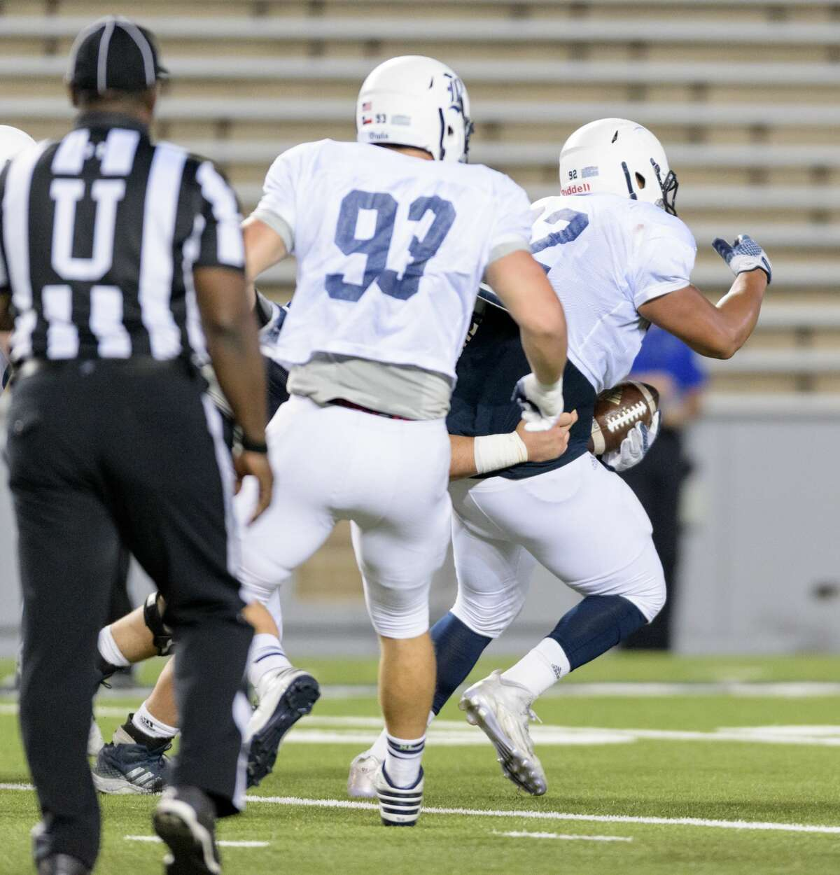 Elijah Garcia (92) of the Rice Owls runs for a short gain after picking up a fumble in the second half of the Rice Owls Spring Football game on Friday, April 7, 2017 at Rice Stadium in Houston Texas.