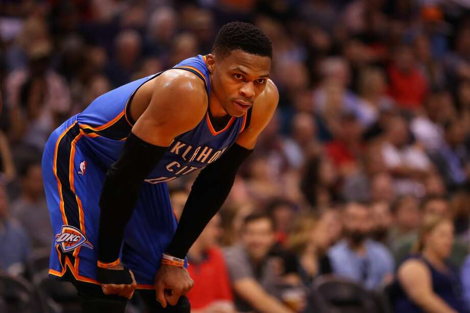 PHOENIX, AZ - APRIL 07:  Russell Westbrook #0 of the Oklahoma City Thunder leans in during the second half of the NBA game against the Phoenix Suns at Talking Stick Resort Arena on April 7, 2017 in Phoenix, Arizona.  The Suns defeated the Thunder 120-99. NOTE TO USER: User expressly acknowledges and agrees that, by downloading and or using this photograph, User is consenting to the terms and conditions of the Getty Images License Agreement.  (Photo by Christian Petersen/Getty Images) Photo: Christian Petersen/Getty Images