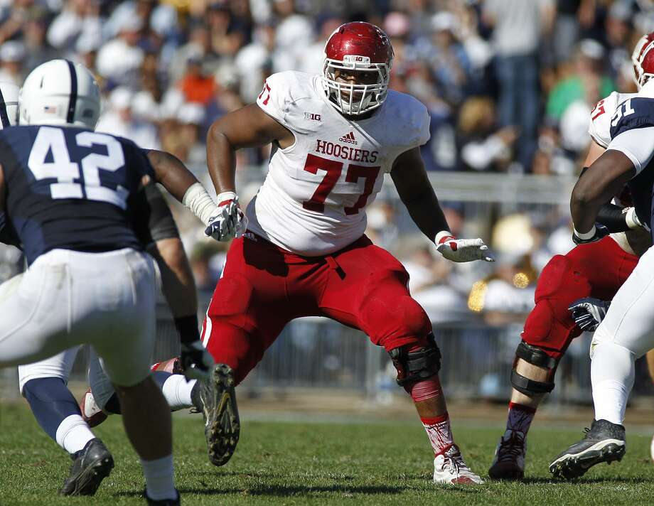 STATE COLLEGE, PA - OCTOBER 10:  Dimitric Camiel #77 of the Indiana Hoosiers in action during the game against the Penn State Nittany Lions on October 10, 2015 at Beaver Stadium in State College, Pennsylvania.  (Photo by Justin K. Aller/Getty Images) Photo: Justin K. Aller/Getty Images