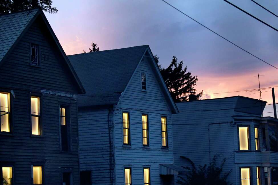 Abandoned houses pulse with light on Stanley Street as part of the Breathing Lights project on Thursday, Sept. 29, 2016, Schenectady, N.Y. (Cindy Schultz / Times Union)