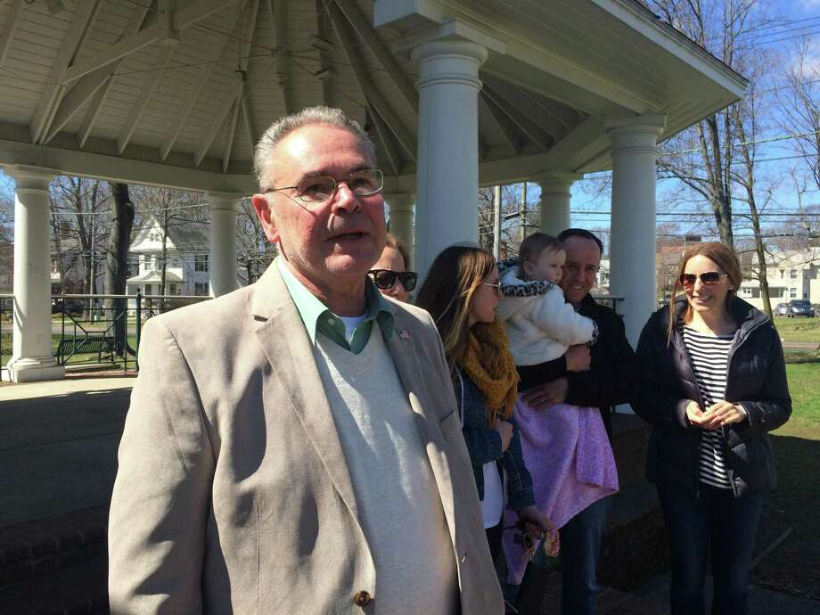 Democrat Leonard Petruccelli said Saturday that he is running for mayor of Stratford. Petrucelli made the announcement on Stratford's Paradise Green. Photo: John Burgeson /Hearst Connecticut Media