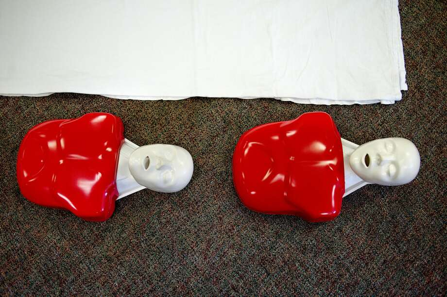 Mannequins are lined up for CPR class participants on Saturday at the Coleman VFW Post 1071. MidMichigan Medical Center Ð Emergency Medical Services and MidMichigan Health partnered with the City of Coleman to offer free Bystander Cardiopulmonary Resuscitation (CPR) classes from noon to 8 p.m. Class participants learned about CPR, warning signs of a hear attack and stroke as well as how to properly use automated external defibrillators. The CPR Blitz classes were part of the cityÕs efforts to become an American Heart Association designated Heart Safe Community. Photo: NICK KING ,  Nking@mdn.net